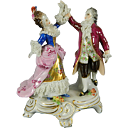 Vintage Hand Painted Dresden Porcelain Figurine Set – Germany 20th Century