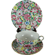 Vintage Chinese Hand Painted Porcelain Cup + Saucer + Dessert Plate – Mille Fleur Famille Verte Style – China 20th Century