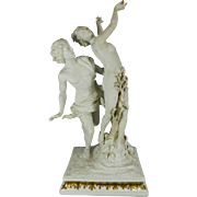 Antique White Parian or Biscuit Capodimonte Porcelain Figurine Set After Bernini – Apollo and Daphne – Germany 19th Century