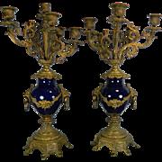 Antique Pair of Cobalt Blue Porcelain Candelabrum – Bronze Mounts – France 19th Century