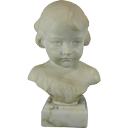 Antique White Alabaster Bust of a Boy – Signed U. L. Tiaccini – Italy 19th Century