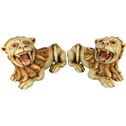 Antique Pair of Alabaster Guardian Lions with Polychrome Paint – Peru 19th Century