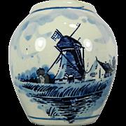 Vintage Miniature Blue and White Delft Porcelain Vase – Holland 20th Century