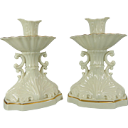 Vintage Pair of White Lenox Porcelain Candleholders – USA 20th Century