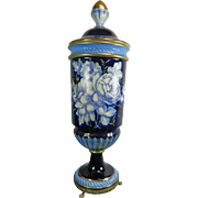 Vintage Cobalt Blue with Hand Painted Flower Bouquets Capodimonte Porcelain Urn – Italy 20th Century