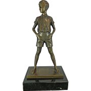 Antique Bronze Sculpture of a Standing Boy – Signed Jager – Germany Early 20th Century