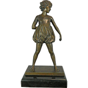 Antique Bronze Sculpture of a Standing Girl – Signed Jager – Germany Early 20th Century