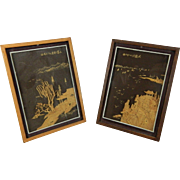 Vintage Pair of Chinese Framed Hand Carved Cork Landscapes – China 20th Century