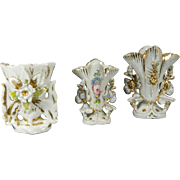 Vintage Set of 3 Miniature Flower Vases Old Paris Style Porcelain – France 20th Century
