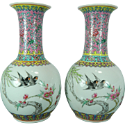 Vintage Chinese Pair of Hand Painted Porcelain Flower Vases – China 20th Century