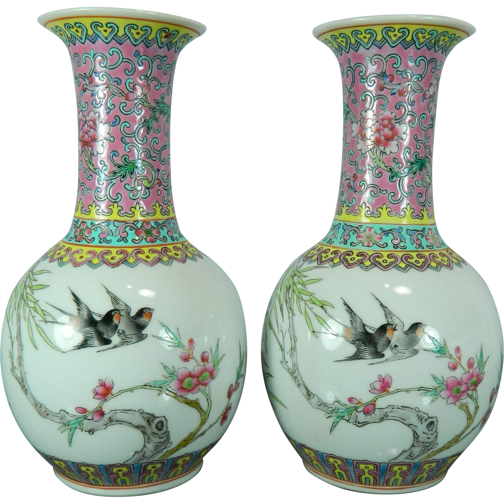 Vintage chinese pair of hand painted porcelain flower vases vintage chinese pair of hand painted porcelain flower vases china little shop of treasures ruby lane reviewsmspy