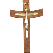 Vintage Mexican Sterling Silver Corpus on a Wood Crucifix – Mexico 20th Century