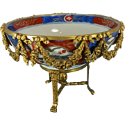 Vintage Hand Painted Porcelain IMARI Style Bowl with Bronze Mounts – Japan and France 20th Century