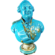 Antique Turquoise and Gold Gilded Sevres Porcelain Bust of Louis XVI – France 19th Century