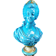 Antique Turquoise and Gold Gilded Sevres Porcelain Bust of Marie Antoinette – France 19th Century