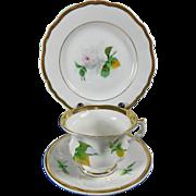 Vintage Hand Painted KPM Porcelain Cup + Saucer + Dessert Plate Set – Germany 20th Century
