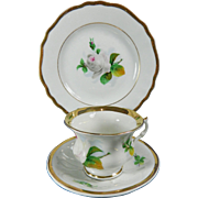 Vintage Hand Painted KPM Porcelain Cup + Saucer + Dessert Plate Set – Germany 20th Century