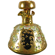 Vintage Gold Gilded Red Bohemia Glass with Encrusted Flowers Perfume Bottle – Czech Republic 20th Century