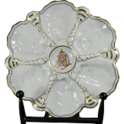 Vintage Hand Painted Spode Mansard Porcelain Oyster Plate – France 20th Century
