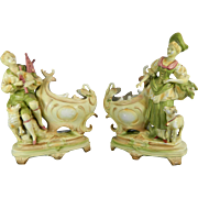 Antique Pair of Hand Painted Amphora or Royal Dux Style Porcelain Planters – Europe 19th Century