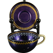Vintage Enameled Hand Painted Email Studio Steinbock Set of Demitasse Cup and Saucer – Austria 20th Century