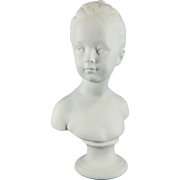 Vintage White Parian or Biscuit Limoges Porcelain Bust of a Girl – Houdon Girl – France 20th Century
