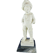 Vintage White Resin Statue of a Boy Smoking a Pipe – Based on Professor G. Bessi Sculpture – Italy 20th Century