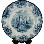 Vintage Hand Painted White and Blue Copeland Porcelain Decorative Plate or Charger – Great Britain 20th Century