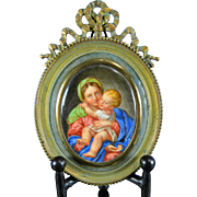Antique Hand Painted Porcelain Religious Plaque Virgin Mary and Baby Jesus France 19th Century