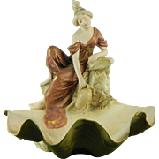 Vintage Hand Painted Royal Dux Porcelain Centerpiece Lady on a Shell Czech Republic 20th Century