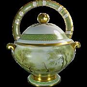 Vintage Hand Painted Limoges Porcelain Soup Tureen France 20th Century