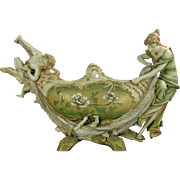 Antique Hand Painted Turn Wien Ernst Wahliss Porcelain Centerpiece Allegory of Fishing Austria 19th Century