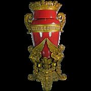 Antique Bronze and Red Porcelain Vase or Urn France 19th Century