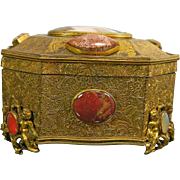 Antique Gold Gilded Metal Jewel or Trinket Box with Semi-Precious Stones – France 19th Century