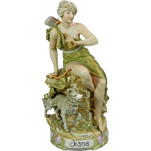 Vintage Hand Painted Royal Dux Porcelain Figurine Diana the Hunter Czech Republic 20th Century
