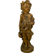 Antique Hand Carved Wood Statue of a Boy Holding a Ewer and Fruits Allegory of Summer France 19th Century