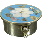 Vintage Miniature Enameled Pill Box in Alpaca Mother of Pearl and Abalone Mexico 20th Century