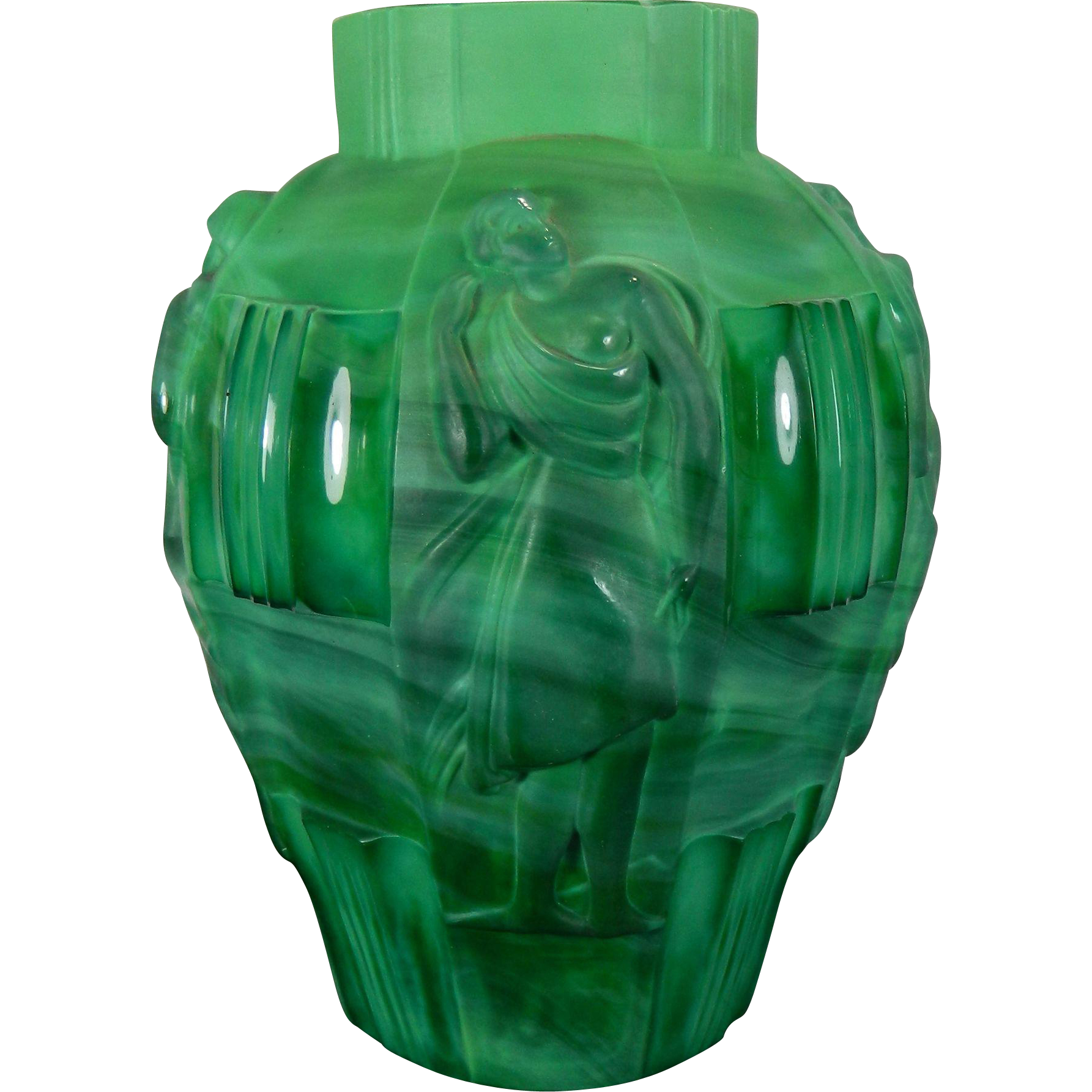 vintage schelvogt ingrid art deco malachite glass flower vase dancing from little shop of. Black Bedroom Furniture Sets. Home Design Ideas