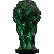 Vintage Schelvogt Ingrid Art Deco Malachite Glass Small Flower Vase Grape Harvest Czech Republic 20th Century