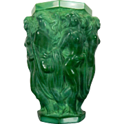 Vintage Schelvogt Ingrid Art Deco Malachite Glass Flower Vase Olympia Czech Republic 20th Century