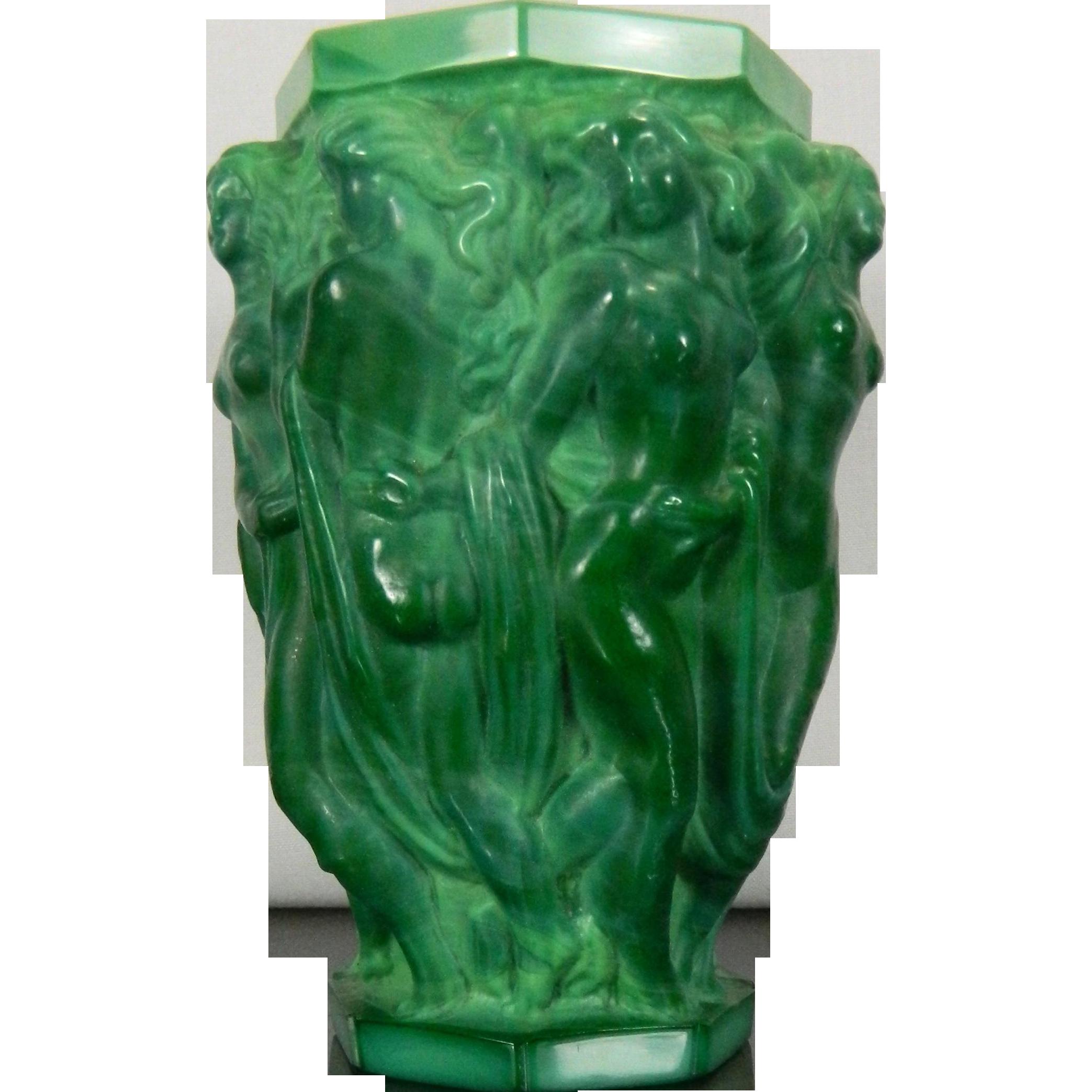 Vintage schelvogt ingrid art deco malachite glass flower for Idee deco grand vase transparent