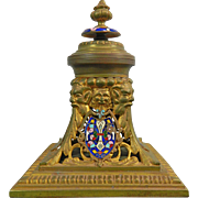 Antique Gold Gilded and Enameled Bronze Inkstand – Russia 19th Century