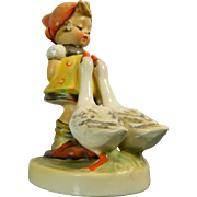 Vintage Hand Painted Goebel Porcelain Figurine – Goose Girl – Germany 20th Century
