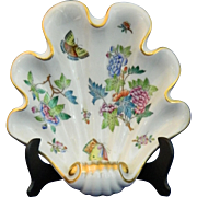 Vintage Hand Painted Herend Hungary Porcelain Dish – Shell Dish – Hungary 20th Century