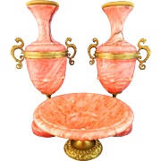 Vintage Red Marble Garniture Set – Italy 20th Century