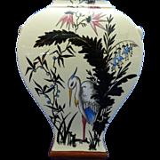 Antique Hand Painted Sarreguemines Majolica Porcelain Flower Vase – Austria 19th Century
