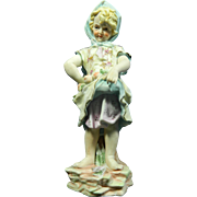 Vintage Hand Painted Dubois Porcelain Figurine of a Little Girl – France 20th Century