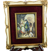 Antique Framed Miniature Painting – Flower Seller Girl – France 19th Century