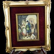 Antique Framed Miniature Painting – Flower Seller Girl – France 19th Century