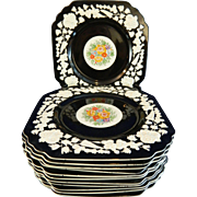 Vintage Hand Painted Set of 12 George Jones & Sons Porcelain Plates or Chargers Model Rhapsody – Great Britain 20th Century